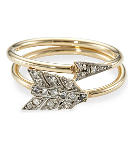 ANNINA VOGEL 9ct yellow-gold old-cut diamond arrow ring set
