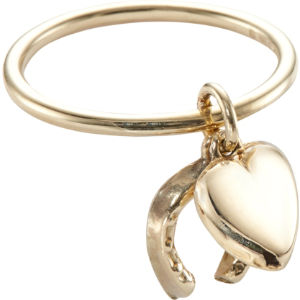 9ct yellow-gold horseshoe heart vintage charm ring