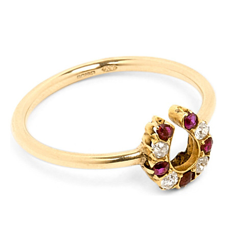 ANNINA VOGEL 9ct rose-gold, old-cut diamond and ruby horseshoe ring