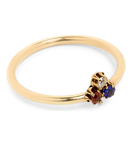ANNINA VOGEL 9ct yellow-gold, diamond, sapphire and ruby shamrock ring