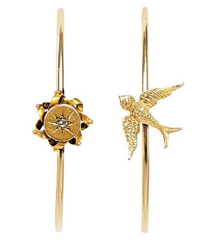 ANNINA VOGEL 9ct yellow-gold rose-cut diamond swallow hoop earrings