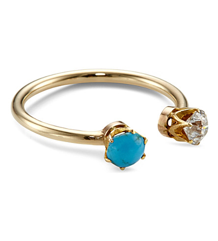 ANNINA VOGEL 9ct yellow-gold, diamond and turquoise toi et moi ring