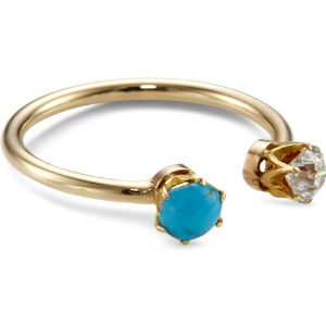 9ct yellow-gold, diamond and turquoise toi et moi ring