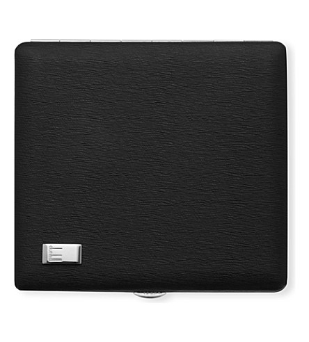 JAMES J FOX WHITE SPOT SIDECAR CIGIGARETTE CASE (Black