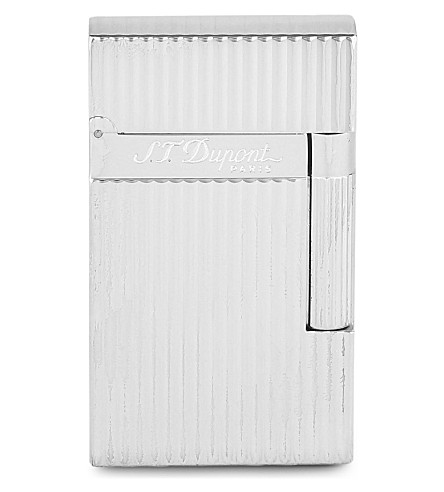 JAMES J FOX ST-DUPONT LIGHTER LIGNE 2 VERTICAL LINE SILVER (Vertical+silver