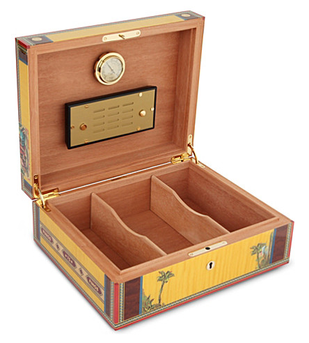 JAMES J FOX Elie Bleu alba sycamore humidor (Yellow