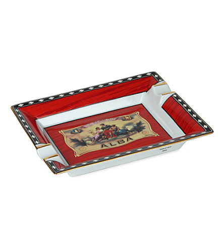 JAMES J FOX ELIE BLEU ALBA ASHTRAY RED (Red