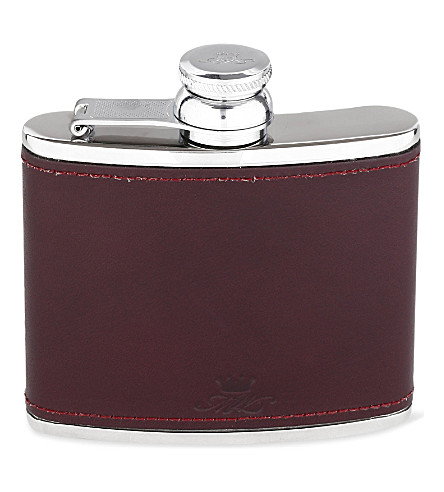 JAMES J FOX Hip flask 4oz (Burgundy
