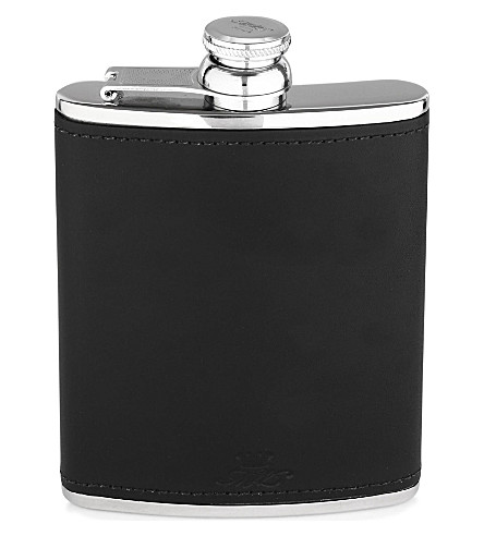 JAMES J FOX MARLBOROUGH HIP FLASK 6oz BLACK (Black