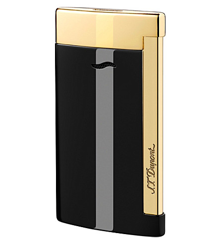 JAMES J FOX ST-DUPONT LIGHTER SLIM 7 BLACK & GOLD