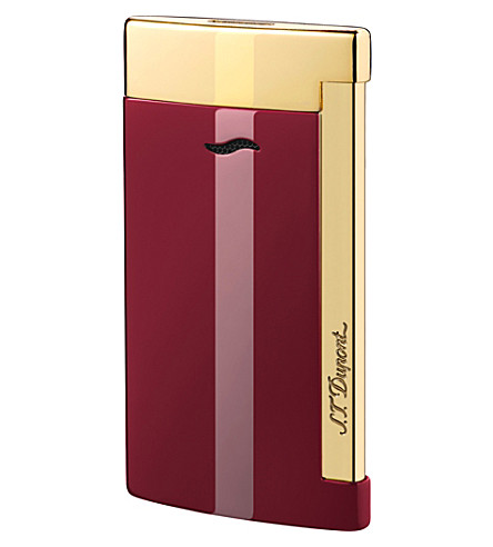 JAMES J FOX ST-DUPONT LIGHTER SLIM 7 BURGUNDY & GOLD