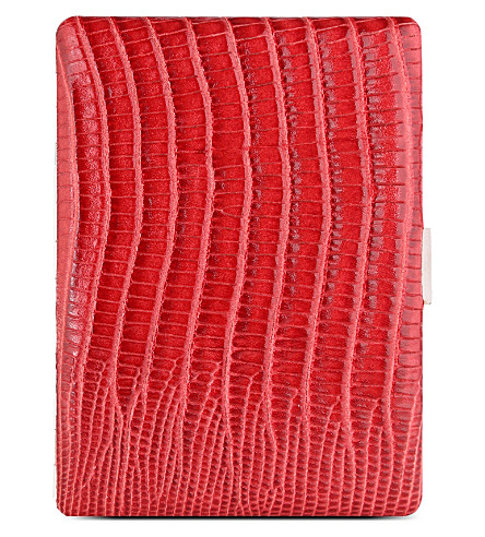 JAMES J FOX COSMOS CIGARETTE CASE RED LIZARD (Red+lizard
