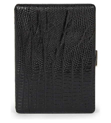JAMES J FOX Cosmos lizard-effect leather cigarette case