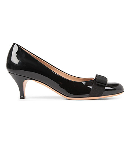 SALVATORE FERRAGAMO Carla patent-leather courts (Black