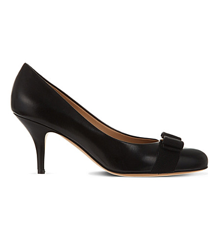FERRAGAMO Carla leather court shoes (Black