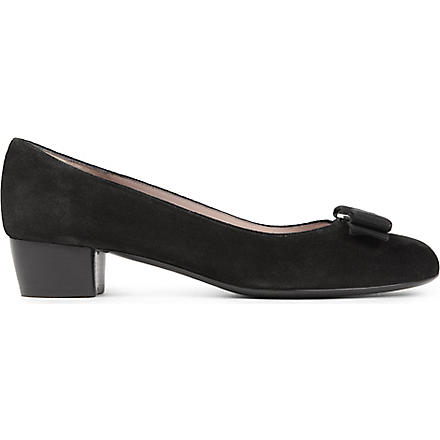 FERRAGAMO Vara suede court shoes (Black
