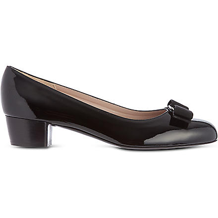 FERRAGAMO Vara patent leather court shoes (Black