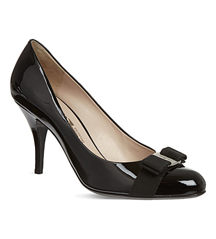 FERRAGAMO Carla patent court shoes (Black
