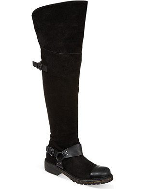 CJG SHOES Bass Line over-the-knee suede biker boots