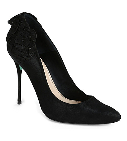 CJG SHOES Santiago skull appliqué pointed court shoes (Black