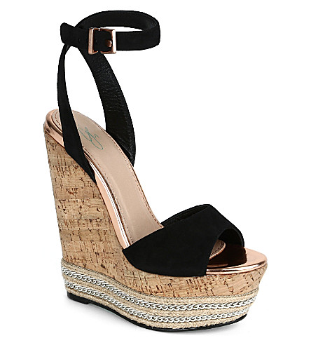 CJG SHOES Miami suede wedge sandals (Black