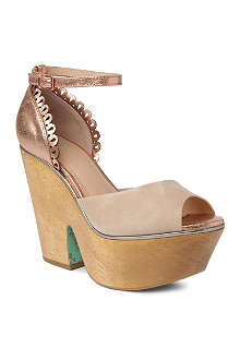 CJG SHOES Shamrock suede wedge sandals
