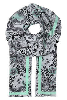CJG SHOES Charm-print silk scarf