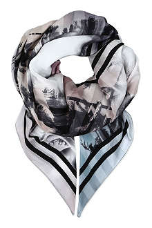 CJG SHOES Palm-print silk scarf