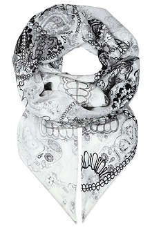 CJG SHOES Lacy skull-print silk scarf