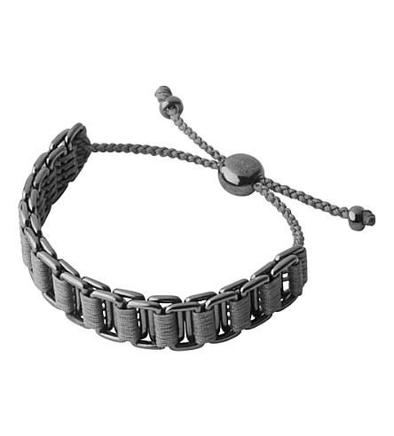 LINKS OF LONDON Ruthenium and woven cord friendship bracelet