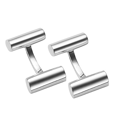 LINKS OF LONDON Cylinder barbell sterling silver cufflinks