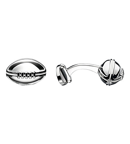 LINKS OF LONDON Rugby ball sterling silver t-bar cufflinks