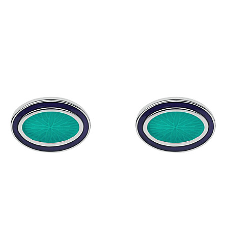 LINKS OF LONDON Guilloche sterling silver and enamel cufflinks