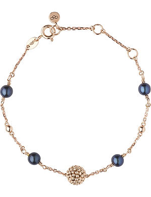 LINKS OF LONDON Effervescence 18-carat gold and black pearl bracelet