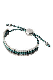 LINKS OF LONDON Sterling silver friendship bracelet in green and grey