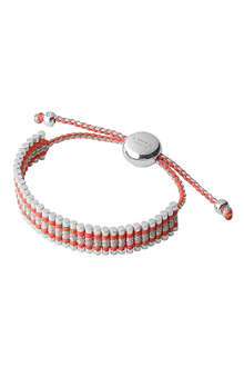 LINKS OF LONDON Sterling silver friendship bracelet coral and grey glitter