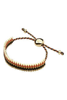 LINKS OF LONDON 18ct gold friendship bracelet in brown, coral and gold glitter