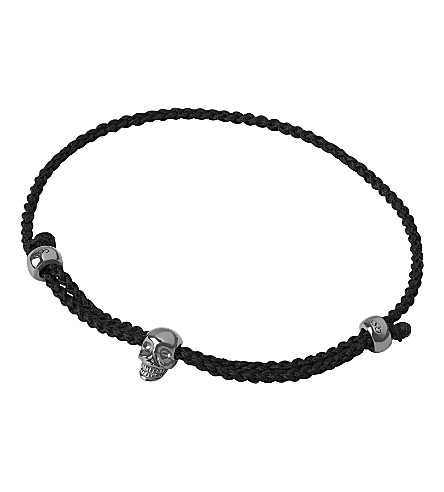 LINKS OF LONDON Mini Black Oxidised Skull Cord Bracelet (Silver