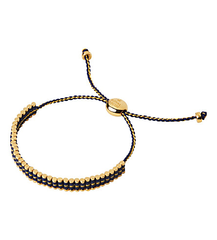 LINKS OF LONDON Ascot 18ct yellow-gold vermeil & blue cord friendship bracelet
