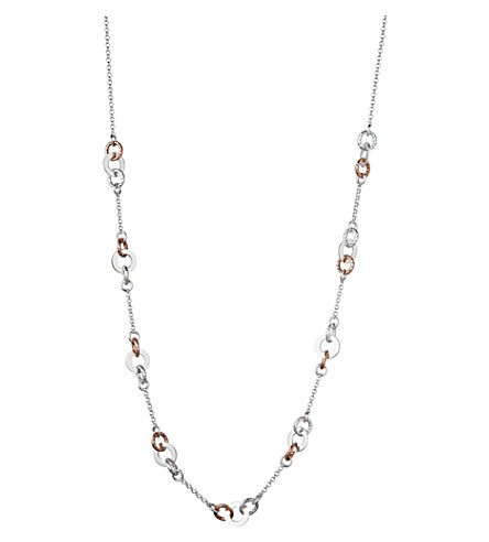 LINKS OF LONDON Aurora sterling silver and rose gold-toned link station necklace