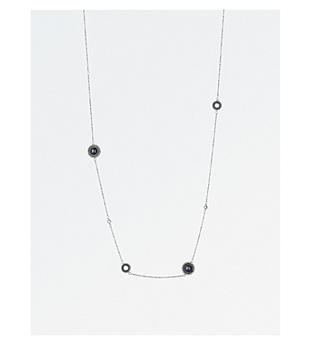 LINKS OF LONDON Effervescence sterling silver, diamond and pearl station necklace