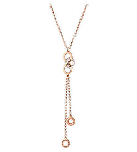 LINKS OF LONDON Signature 18ct rose gold and sapphire stud necklace (Rose+gold