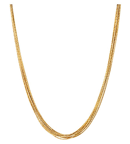 LINKS OF LONDON Essentials 18ct yellow gold-plated Silk 10 row necklace