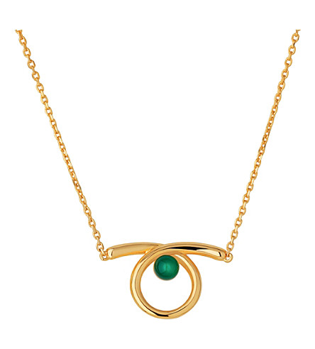 LINKS OF LONDON Serpentine Gold & Chalcedony Necklace