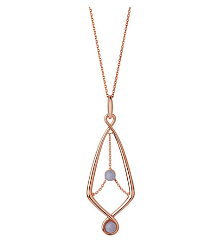 LINKS OF LONDON Serpentine Rose & Agate Pendant Necklace