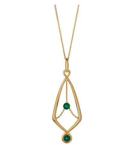 LINKS OF LONDON Serpentine Gold & Green Pendant Necklace