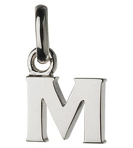 Alphabet M sterling silver charm