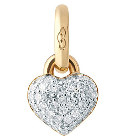 LINKS OF LONDON 18ct yellow-gold and diamond mini heart charm (Gold