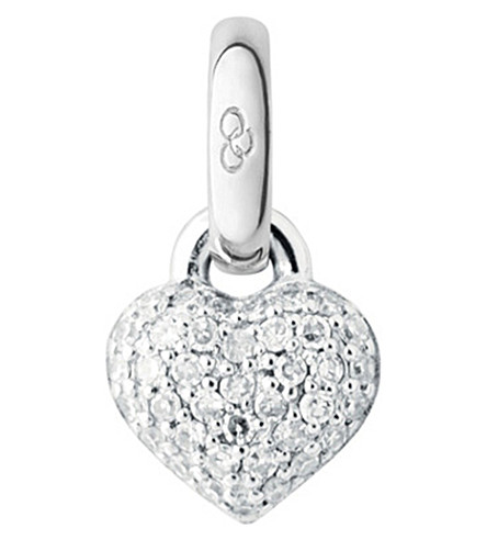 LINKS OF LONDON 18ct white-gold and diamond mini heart charm (Silver