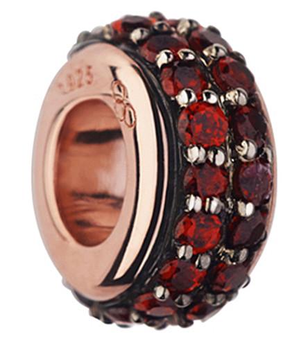 LINKS OF LONDON Sweetie 18ct rose gold vermeil and rhodolite garnet bead (Red